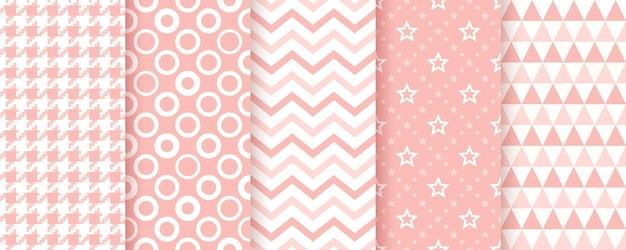 Padrão de chá de bebê-de-rosa. texturas bonitas com círculos, ziguezague, triângulos, estrelas e xadrez.