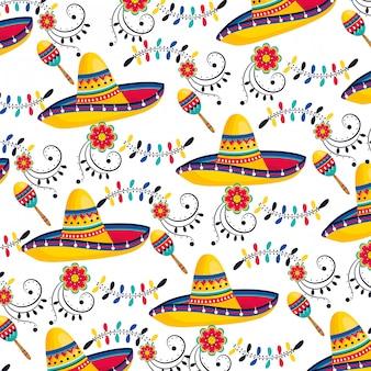 Padrão de chapéu de cultura mexicana