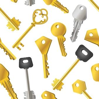 Padrão de chaves - fundo de design de material moderno sem costura. objetos de ouro e prata de diferentes formas e formas. modelo para papel de embrulho, tecido, capa de livros, têxteis, cartões de visita