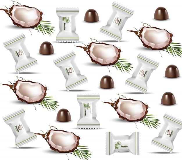 Padrão de chocolate com coco
