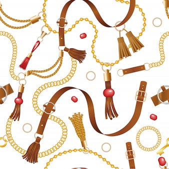 Padrão de cinto. correntes de couro de luxo da moda e decoração trançada para acessórios de amarrar roupas fundo transparente
