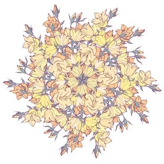 Padrão de círculo com bellflowers. caleidoscópio redondo de flores e elementos florais.