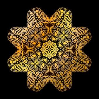 Padrão de círculo de mandala dourada