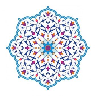 Padrão de círculo floral árabe