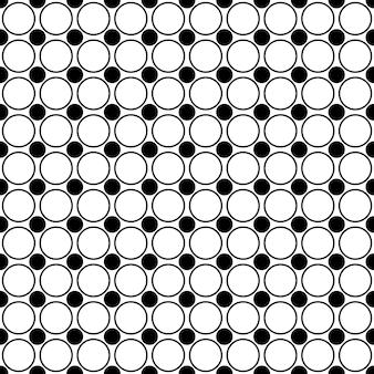Padrão de círculo monocromático sem costura - fundo abstrato do vetor geométrico a partir de pontos e círculos