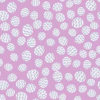 Padrão de círculo sem costura de luz pastel aleatório. fundo roxo suave com pequenas figuras brancas com faixas azuis.