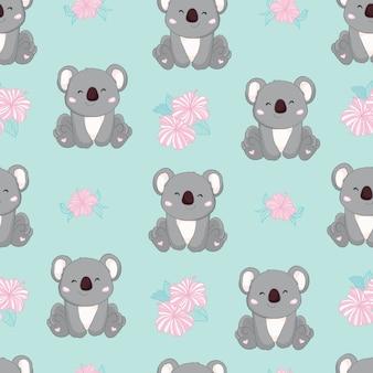 Padrão de coala bonito dos desenhos animados sem emenda