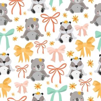 Padrão de coala e panda fofo