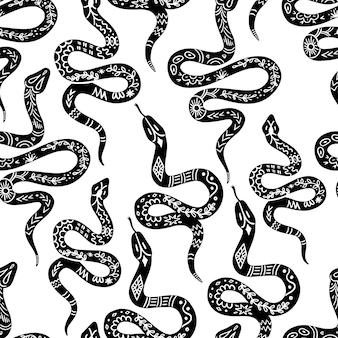 Padrão de cobra, padrão sem emenda de serpente celestial preto e branco. silhuetas de cobra em boho, estilo gráfico místico. ornamento boêmio de ilustração vetorial no estilo linogravura. antecedentes da serpente mística
