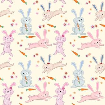 Padrão de coelho bonito dos desenhos animados
