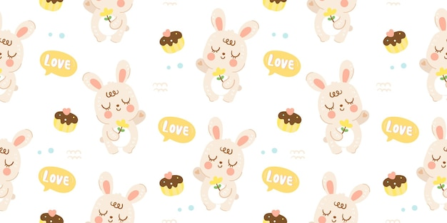 Padrão de coelho coelhinho fofo sem costura com ilustração animal de cupcake kawaii