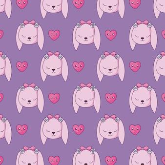 Padrão de coelhos fofos com estilo kawaii de corações