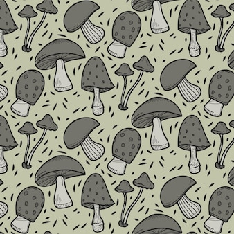 Padrão de cogumelo desenhado à mão