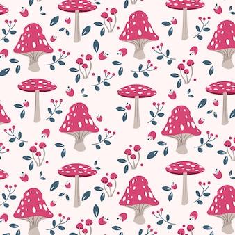 Padrão de cogumelo rosa desenhado à mão