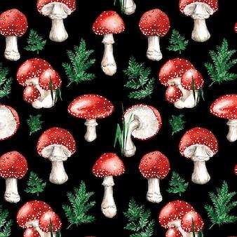 Padrão de cogumelo vermelho aquarela pintado à mão