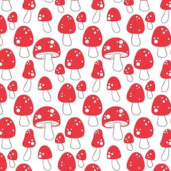 Padrão de cogumelo vermelho desenhado à mão