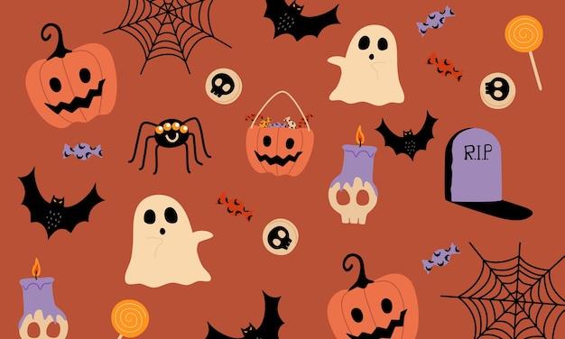 Padrão de coisas de halloween. em fundo laranja