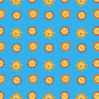 Padrão de coleção de sol desenhado à mão