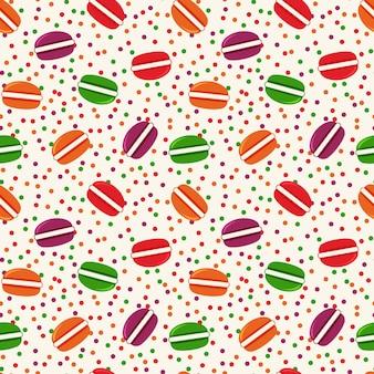 Padrão de colorido sem costura com biscoitos. tema de comida.