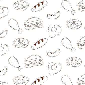 Padrão de comida bonito doodle