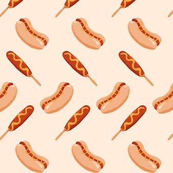 Padrão de comida com cachorro-quente e salsicha
