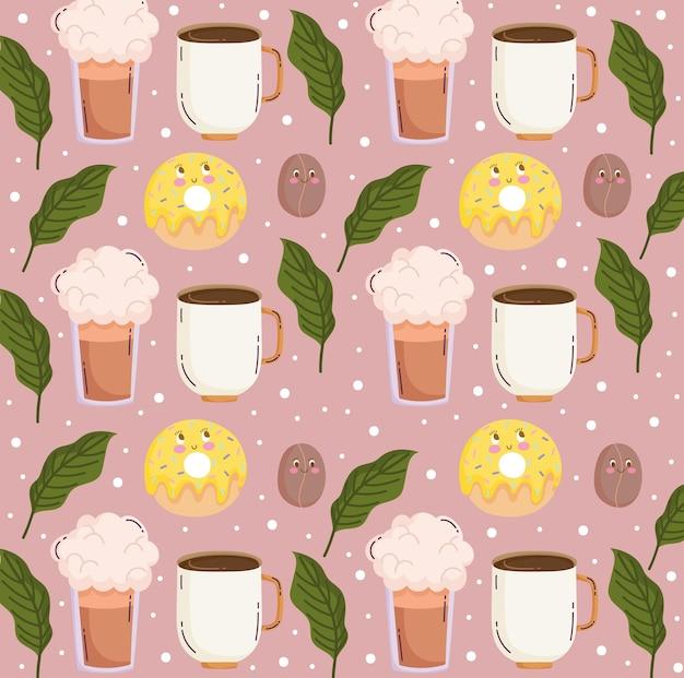 Padrão de comida desenho animado bonito xícara de café laranja smoothie e ilustração vetorial de sementes
