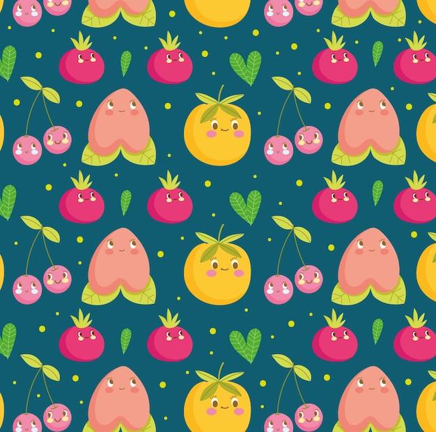 Padrão de comida engraçado feliz desenho animado frutas fofas e ilustração em vetor folha