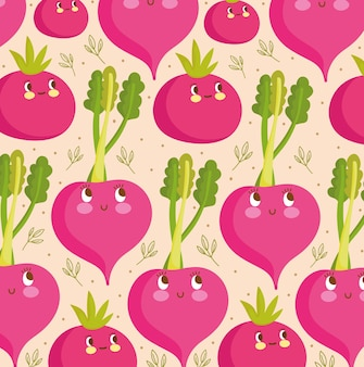 Padrão de comida engraçado feliz desenho animado ilustração vetorial de vegetais frescos de beterraba
