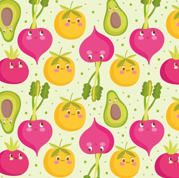 Padrão de comida feliz desenho animado ilustração em vetor laranja beterraba