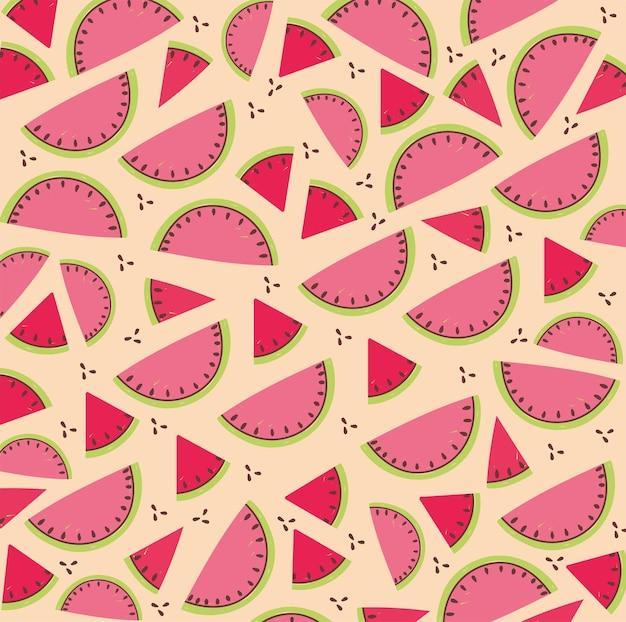 Padrão de comida, ilustração tropical de fatia de melancia com frutas frescas