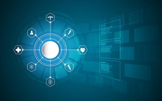 Padrão de conceito de inovação de ciência médica de cuidados de saúde