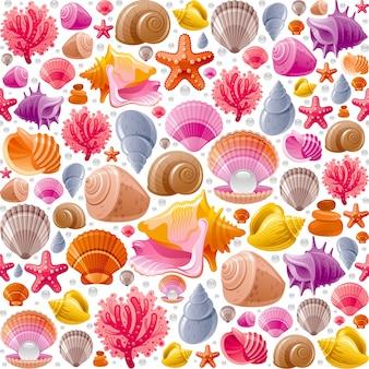Padrão de concha sem emenda. ilustração de conchas do mar.