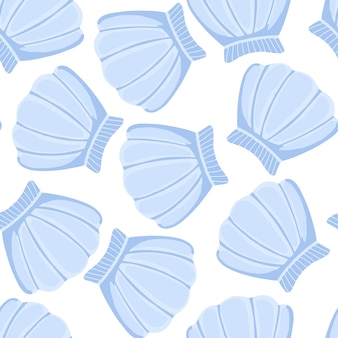 Padrão de conchas do mar azul