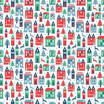 Padrão de cor perfeita de cidade antiga com edifícios antigos para papel de parede ou design de plano de fundo em branco.