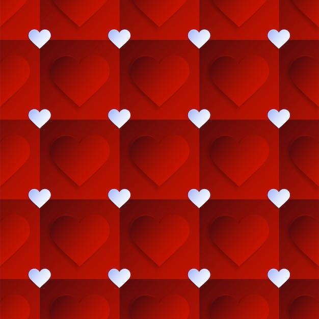 Padrão de coração com forma criativa em estilo geométrico.