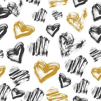 Padrão de coração sem emenda. padrão de tinta preta, branca e dourada. ilustração vetorial.