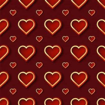 Padrão de coração vermelho e dourado com forma criativa em estilo geométrico.