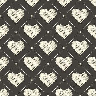 Padrão de corações de mão desenhada. plano de fundo dia dos namorados para modelo de férias. ilustração de estilo criativo e luxuoso