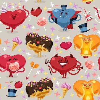 Padrão de corações dos namorados