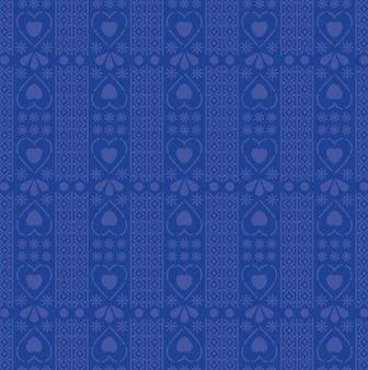 Padrão de corações e design de fundo azul.