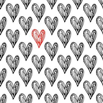 Padrão de corações. padrão sem emenda de doodle desenhado à mão com corações vermelhos pretos e um solitário. ilustração de tinta. coleção de elementos de linha desenhada à mão. ilustração moderna.
