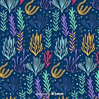 Padrão de coral desenhado de mão escura