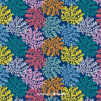 Padrão de coral desenhado de mão