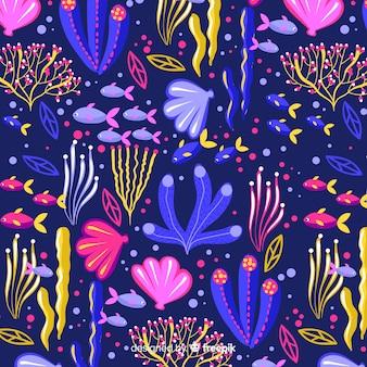 Padrão de coral escuro desenhado de mão