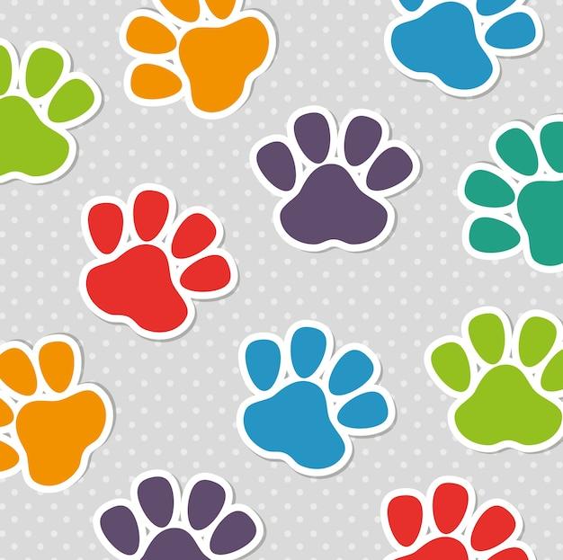 Padrão de cores do pé impressão animal de estimação sem costura