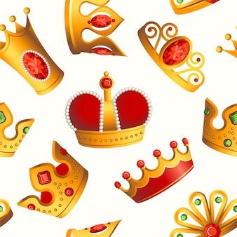 Padrão de coroas - fundo de material moderno sem costura. símbolos reais dourados e vermelhos de diferentes formas e formas. modelo para papel de embrulho, tecido, capa de livros, têxteis, cartões de visita