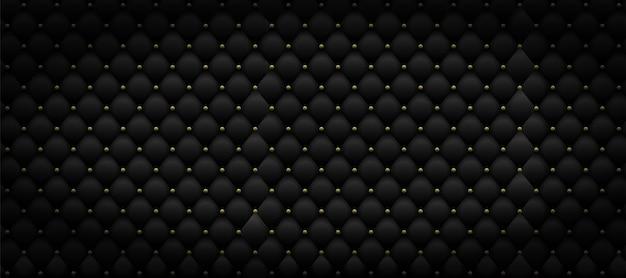Padrão de couro preto com metal dourado. fundo de luxo.