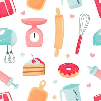 Padrão de cozinha, preparação de sobremesas, utensílios de cozinha. ilustração vetorial no estilo cartoon