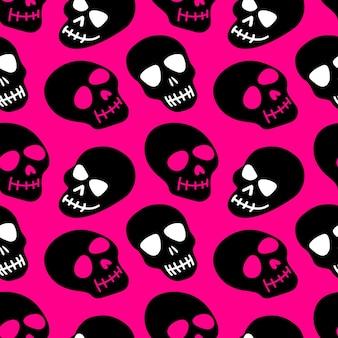 Padrão de crânio crânios rosa em um fundo preto
