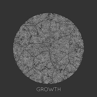 Padrão de crescimento generativo do ramo. textura redonda. líquen como estrutura orgânica com veias.
